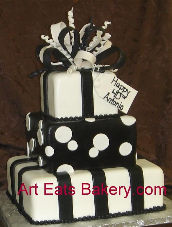 Four tier square presents custom black and white 40th birthday cake with stripes, polka dots and sugar bow.jpg by Art Eats Bakery