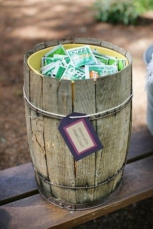 Offer individual insect repellent options. | 32 Totally Ingenious Ideas For An Outdoor Wedding  (Kelsey's Wedding)
