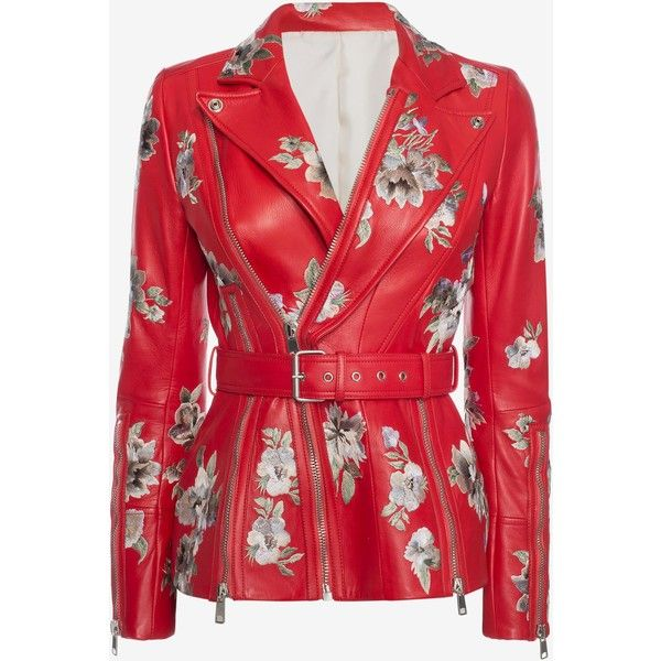 Alexander McQueen Embroidered Lambskin Leather Jacket ($6,160) ❤ liked on Polyvore featuring outerwear, jackets, red zip jacket, lamb leather jacket, red jacket, lambskin leather jackets and collar jacket