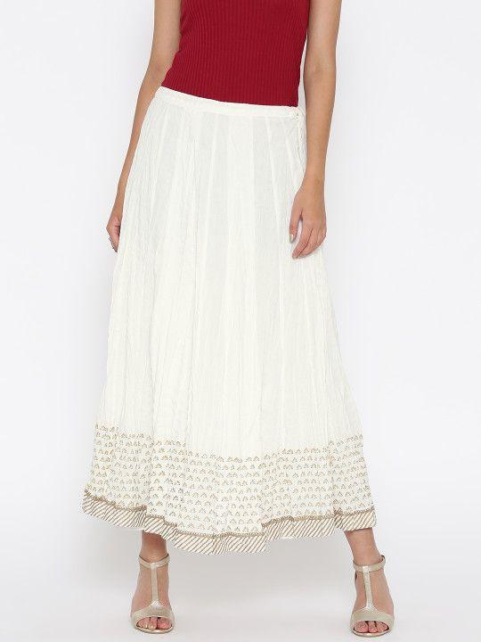 0028db8829 Biba White Flared Maxi Skirt - | 934 | Shorts & Skirt Design ...