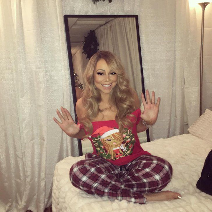 Pin for Later: See How All Your Favorite Celebrities Got in the Holiday Spirit  Mariah Carey rocked her Christmas PJ's early . . .