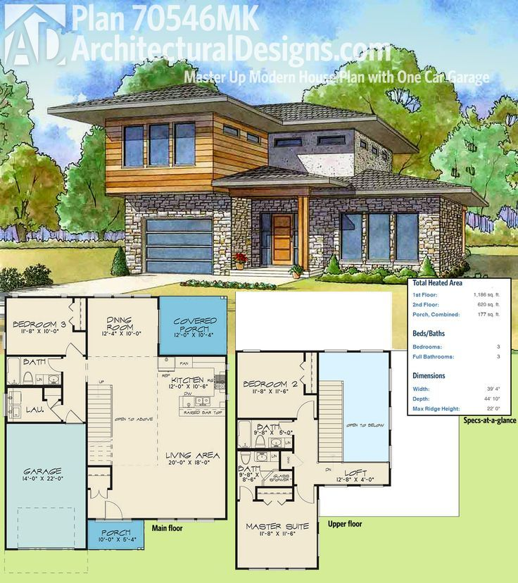 Plan 70546mk master up modern house plan with one car garage arquitectura - Contemporary colonial house plans property ...