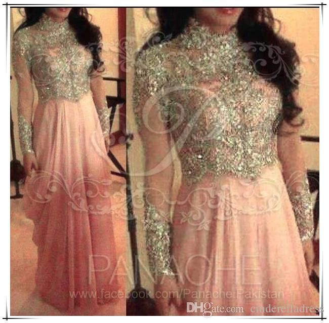 Wholesale cheap evening dresses online, 2014 fall winter - Find best arab muslim pink high neck collar A line chiffon prom dresses stunning sequins beaded with long sleeves floor length evening gowns bO5728 at discount prices from Chinese evening dresses supplier on DHgate.com.