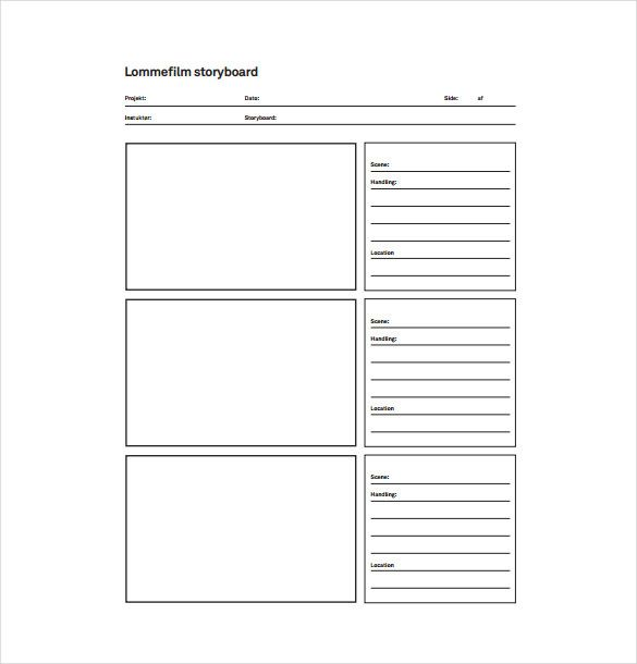 Storyboard Sample In Word Vertical Storyboard Sample Sample Free