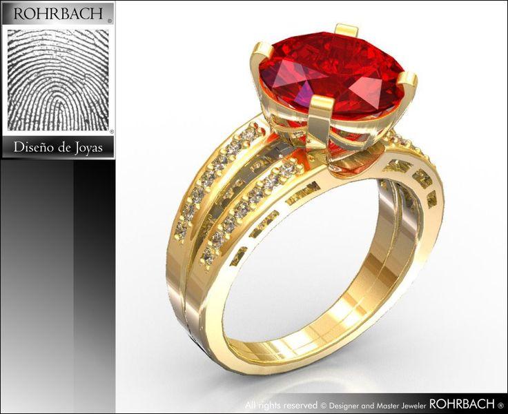 Oro amarillo 18K 750 diseñador de joyas ROHRBACH ®