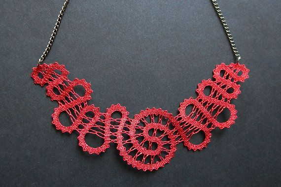 Red Spiral Lace Necklace  handmade bobbin lace jewelry by A5lace, €30.00