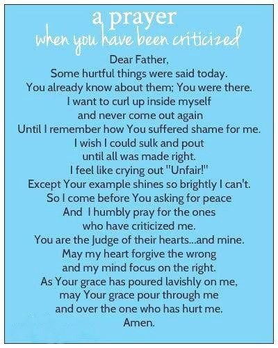 A Prayer when you had been criticized