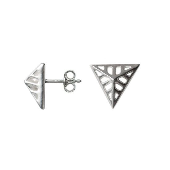 Organic Triangles - Silver Stud Earrings  #tringles #silver #stud #earrings #art #deco #gifts