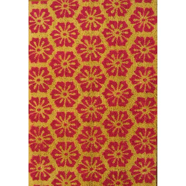 Oasis Cocoa Matting 'Red Burst' Beige Door Mat (16 x 24) (Red Burst) (Fabric)