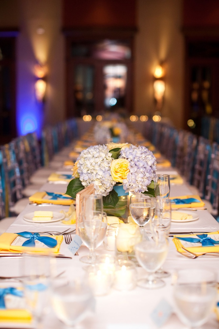 wedding packages western australia%0A Blue hydrangea and yellow rose tablescape  Photo courtesy of Robin Roemer  Photography Chic Bahamas Weddings