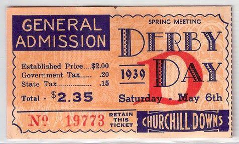 Expresh Letters Blog: Kentucky Derby Ticket Design 1930's - 1950's
