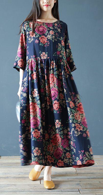 100% o neck cotton linen Robes Work Outfits navy prints Dress bracelet sleeved