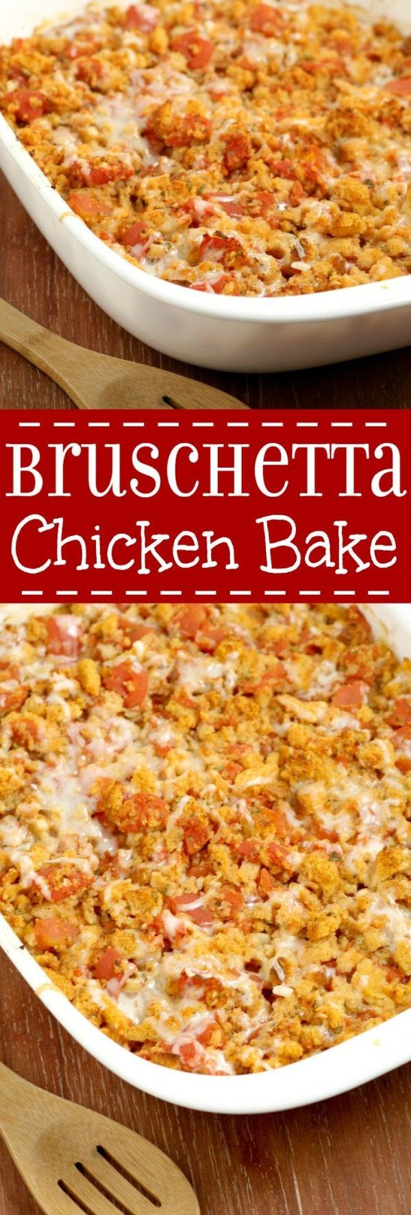 Bruschetta Chicken Bake is a quick and easy family dinner recipe packed with flavorful tomatoes and garlic, gooey cheese, and a crunchy topping. This makes a great freezer meal too!