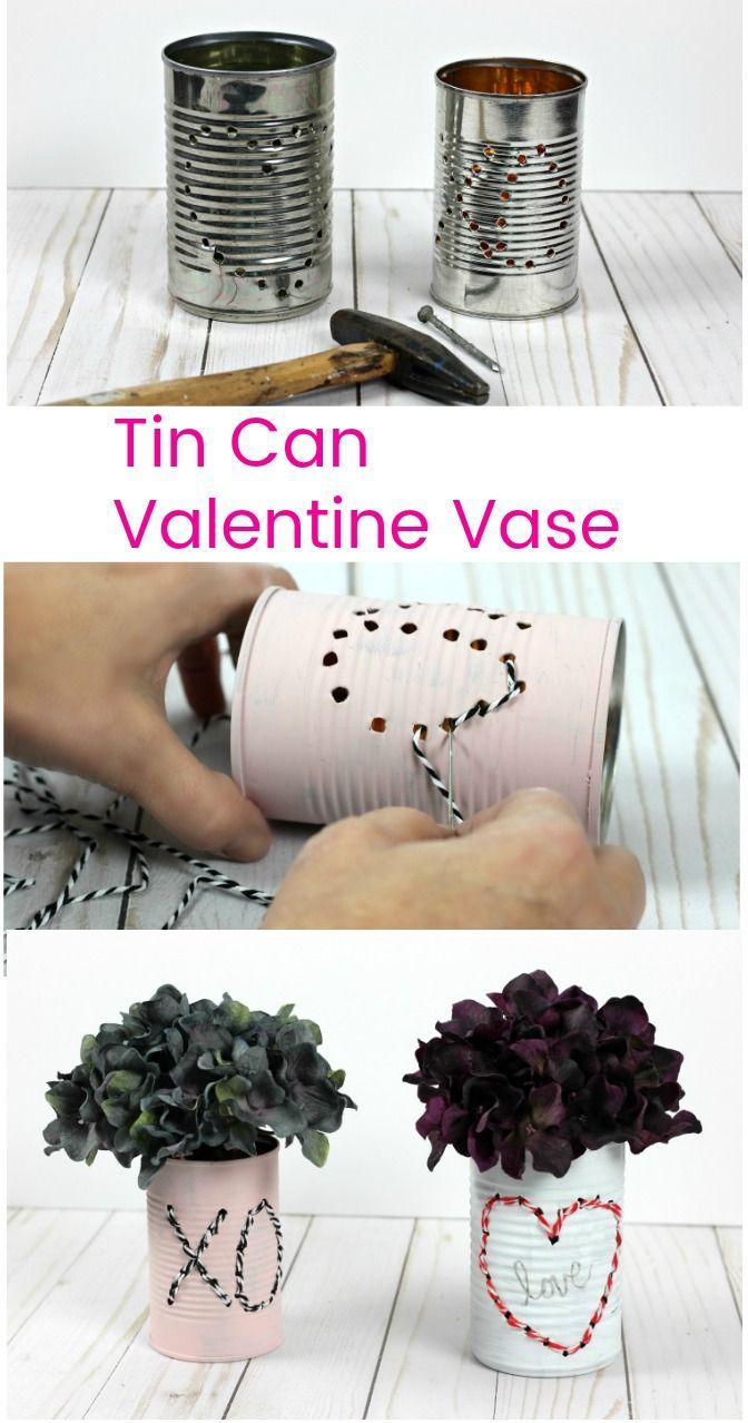 Tin Can Valentine Vase