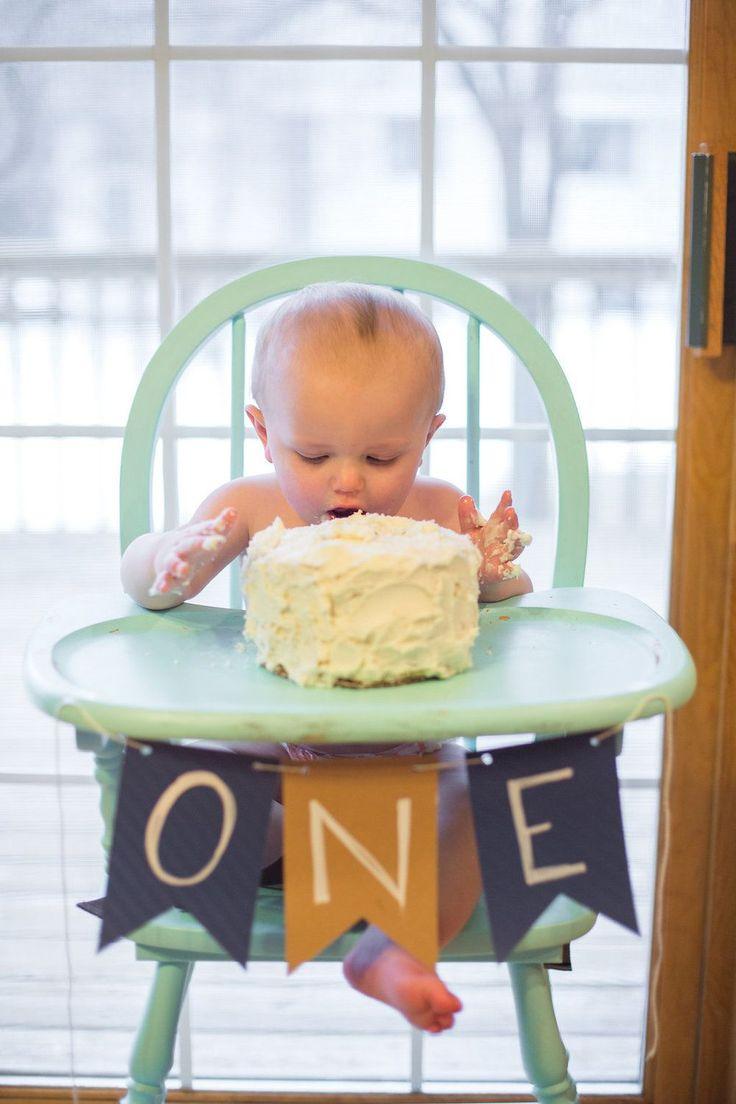 Baby boy's first birthday buttercream smash cake, diy banner, painted high chair