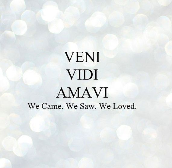 VENI VIDI AMAVI WE CAME WE SAW WE LOVED Quote International