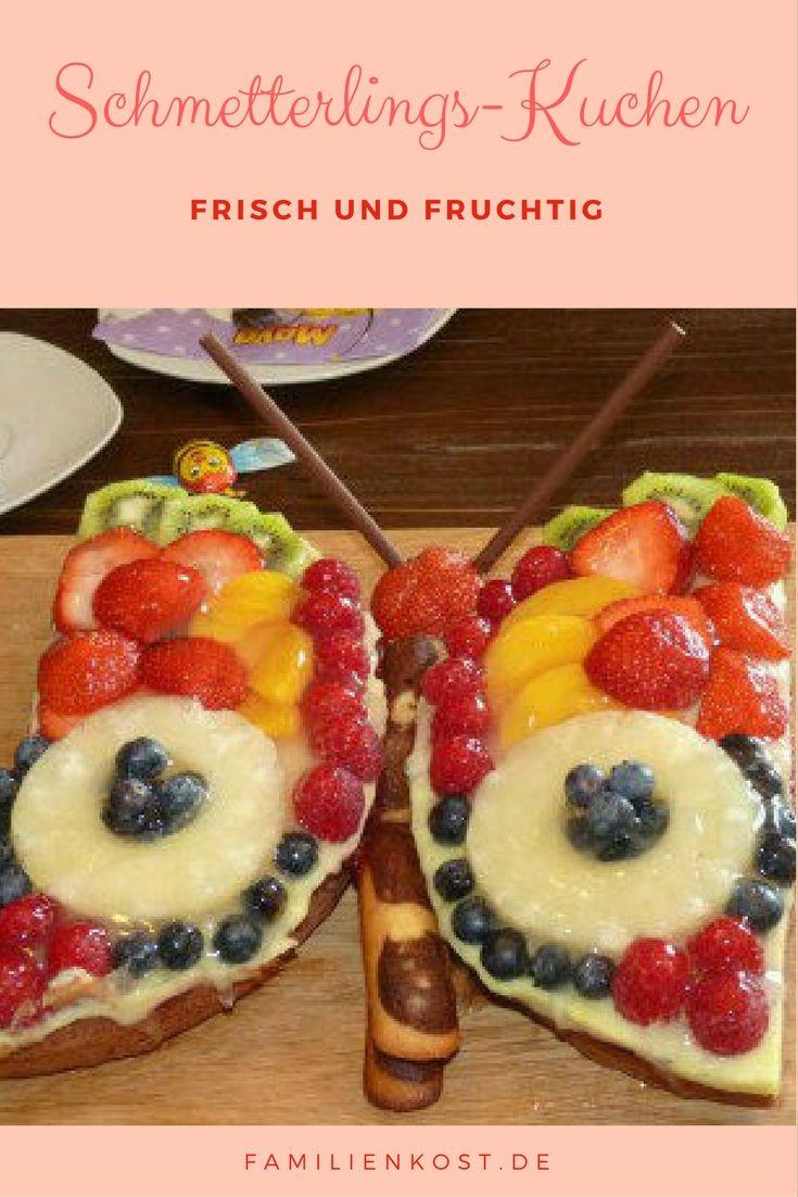 Ein Schmetterlingsküchen ist eine tolle Idee für einen besonderen Obstkuchen, der sich nicht nur für den Kindergeburtstag oder eine Schmetterlingsparty eignet. Mit unserem Rezepte könnt ihr euch ganz einfach einen eigenen Obstschmetterling backen: http://www.familienkost.de/rezept_obstschmetterling.html