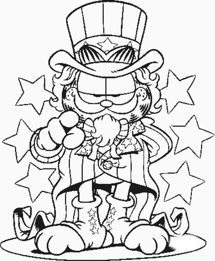 USA Garfield Coloring Page