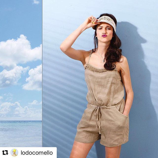 #Repost @lodocomello with @repostapp ・・・ Funny @120percento short linen jumpsuit... Dreaming a road trip! Where are you going this summer?? 👒  #120percento #120lino #summer #linen