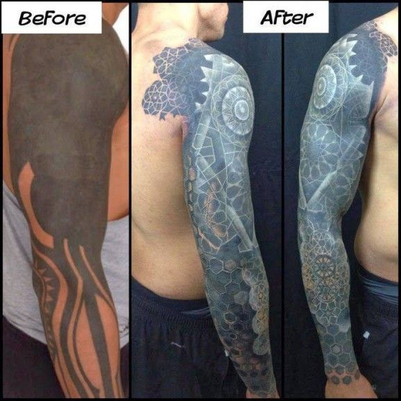 Cover-up tattoos can be very difficult, but when you have a professional like Nathan Mould from the Artisan Shop in Pittsburgh, it's guaranteed excellence. The key here was covering the tattoo in black and retracing new patterns with white ink, creating an incredible effect!