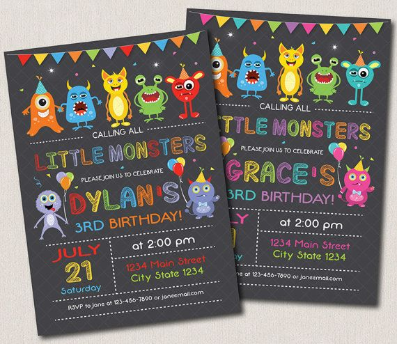 Monster birthday invitation st birthday Monster by PixeleenDesigns