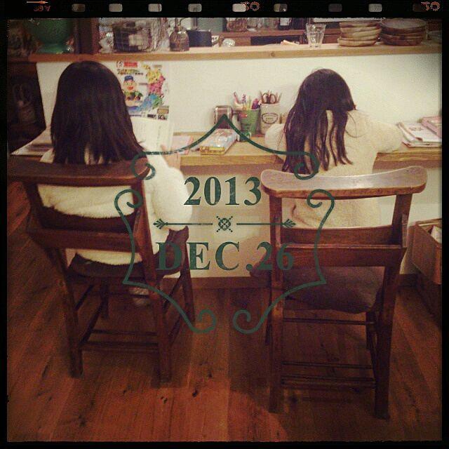 リビング/勉強机/カウンター/チャーチチェア/アンティーク/娘たちはいつもここでお勉強してます♪…などのインテリア実例 - 2014-09-17 10:21:20 | RoomClip(ルームクリップ)