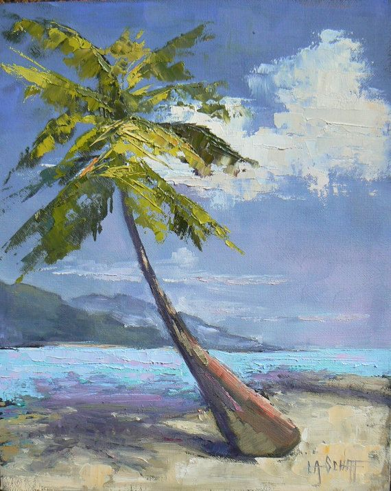 Tropical Landscape Beach Painting Textured by CarolSchiffStudio, $149.95