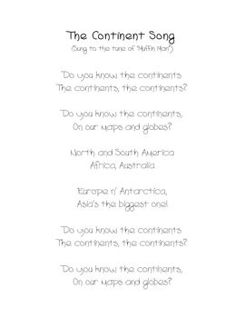 Students will love learning the names of the continents with this fun song.  Use as a supplement to geography lessons K-2....