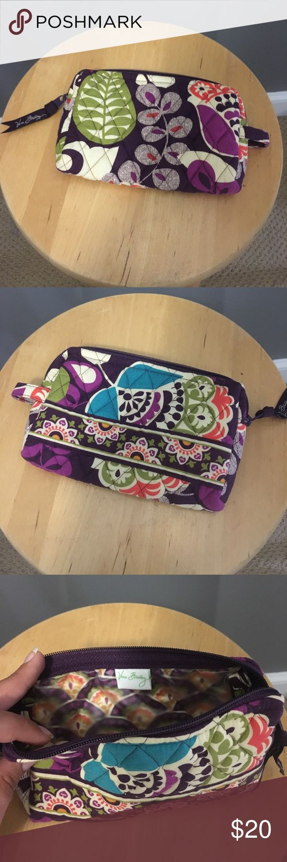 """Vera Bradley Small Cosmetic Bag Never used, in excellent condition! """"Plum Crazy"""" retired pattern. Smoke free, pet free home. Vera Bradley Bags Travel Bags"""