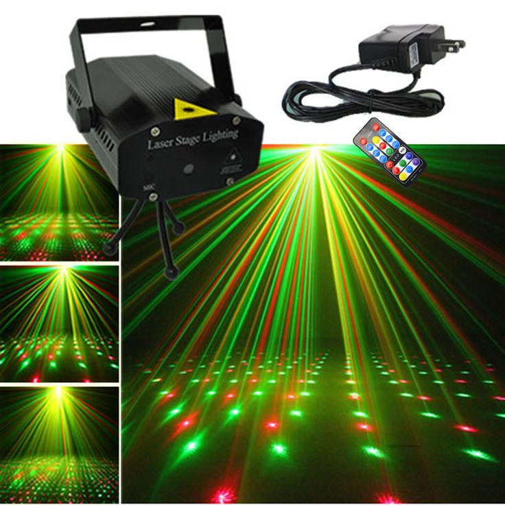 AUCD Mini Preto Shell Remoto IR Red Green Laser Projetor Portátil luzes DJ KTV Início Xmas Party LED Iluminação Cénica Dsico OI100B