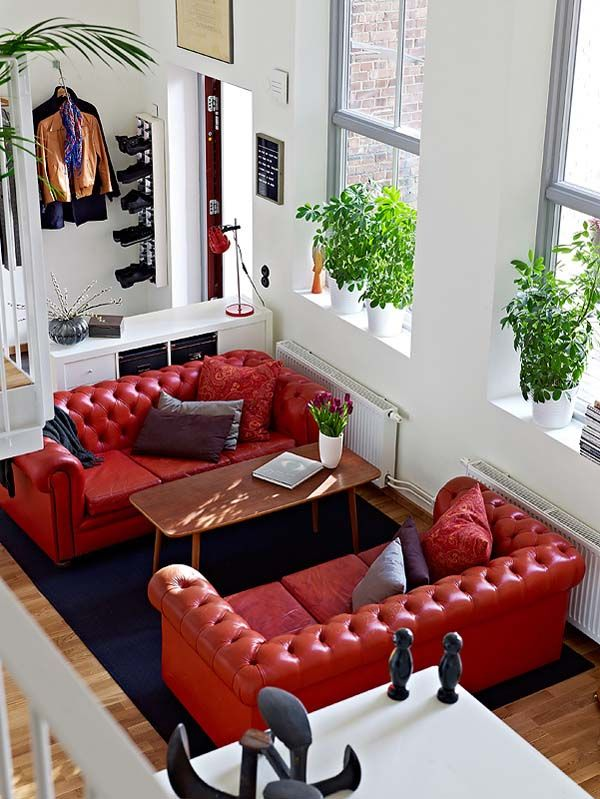 Un Artement Moderne Et Lumineux à Göteborg Red Leather Couchesred