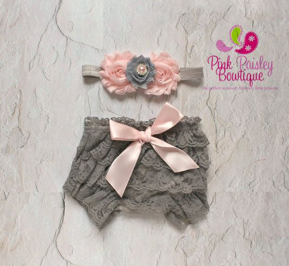 Baby Lace Bloomer Set Newborn Headband and by Pinkpaisleybowtique