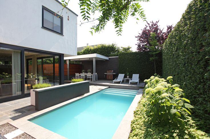 Architectuur en tuinarchitectuur lopen naadloos in elkaar over in deze moderne tuin met zwembad.