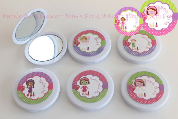 Spa Day Party Favors - Custom Compact Mirror - Girls Spa Birthday Party - Party Favor Combo - Set of 6 - Free Customization on Etsy, $15.00