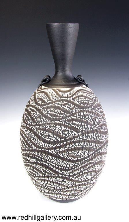 Bill Powell 'Textured Manganese Stoneware Vase' 28x56cm. 61 Musgrave Road, Red Hill Brisbane, QLD, Australia. art@redhillgallery.com.au
