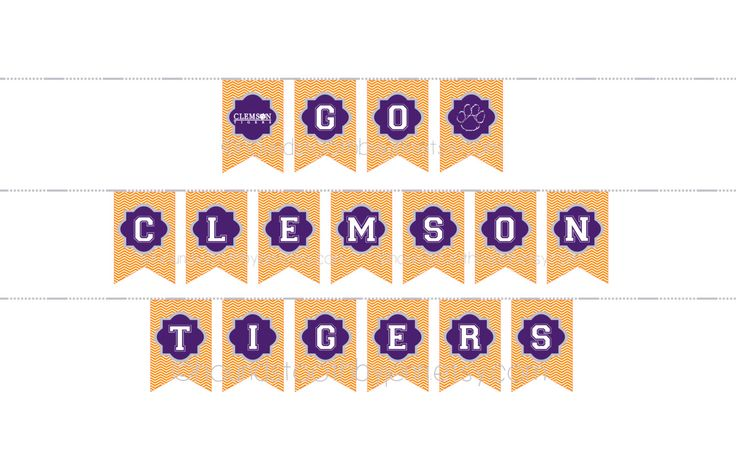 CLEMSON TIGERS Instant Download! Banner Printable diy Pennants automatic pdf tailgate football party supplies decor by HoundstoothbyJenn on Etsy https://www.etsy.com/listing/261942252/clemson-tigers-instant-download-banner