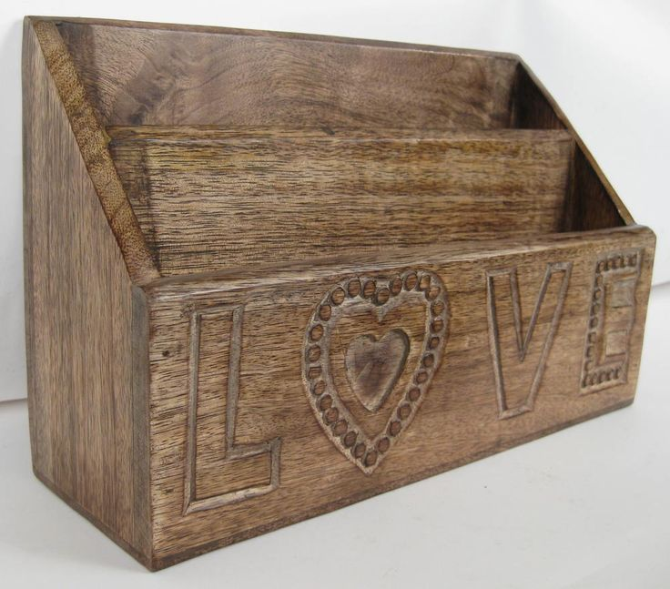 Once A Tree Mango wood Love Design Letter Rack