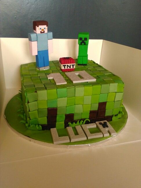Chocolate cake and buttercream, mine craft cake with fimo figures made by my hubby