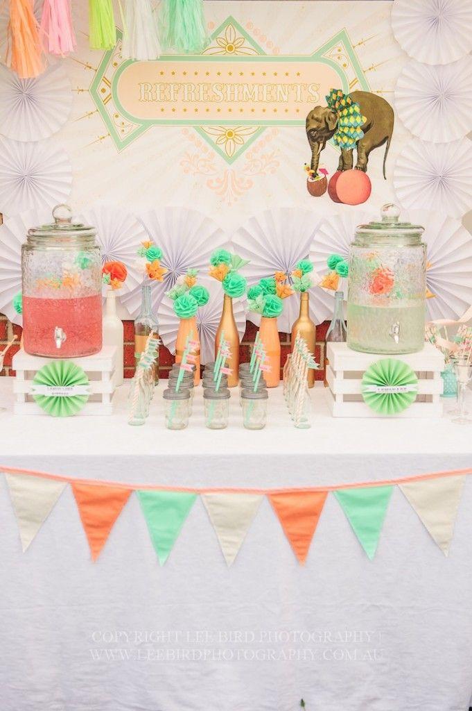 Vintage Peach and Mint Circus Party with Lots of Really Cute Ideas via Kara's Party Ideas Kara Allen KarasPartyIdeas.com #vintagecircusparty...