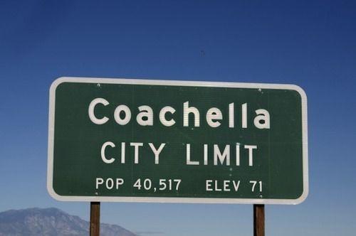 Coachella music festival city sign road