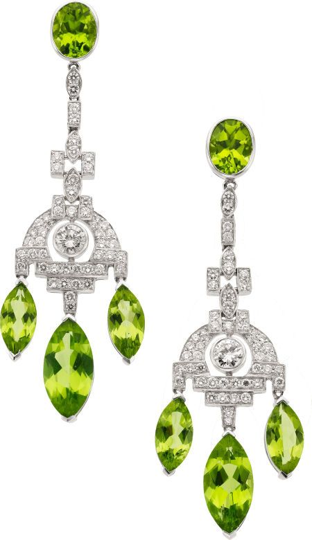 Peridot Diamond Platinum Earrings The Feature Oval And Marquise Shaped Weighing A Total Of Roximately 20 00 Carat