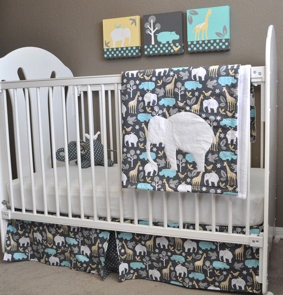 custom order for denise michael miller zoology crib bedding and paintings set love the. Black Bedroom Furniture Sets. Home Design Ideas