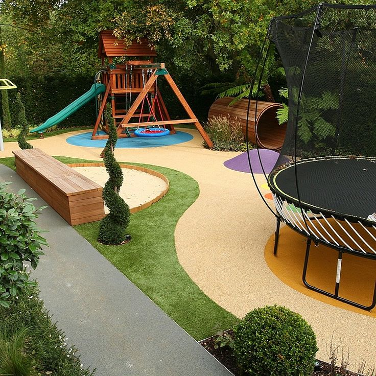 Childrens play area garden design cr che pinterest for Garden ideas for patio areas