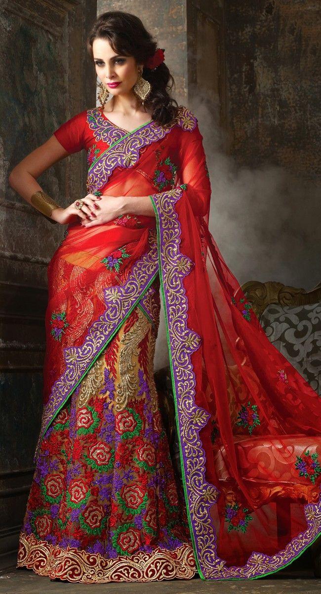 Exquisite Beige Brown & Red Lehenga Choli