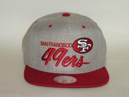 Mitchell and Ness NFL San Francisco 49ers Script 2Tone Gray Snapback Cap