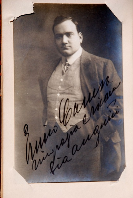 Enrico Caruso (1873 – 1921) was an Italian tenor. He sang to great acclaim at the major opera houses of Europe and the Americas, appearing in a wide variety of roles from the Italian and French repertoires that ranged from the lyric to the dramatic.