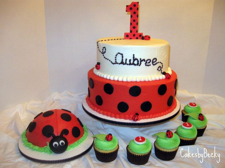 lady bug birthday cake pictures | fun ladybug theme for a special little one s first birthday large cake ...