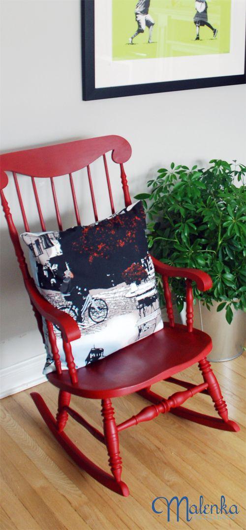 Red Rocker done with Annie Chalk Paint™ in Emperor's Silk with dark Soft Wax.