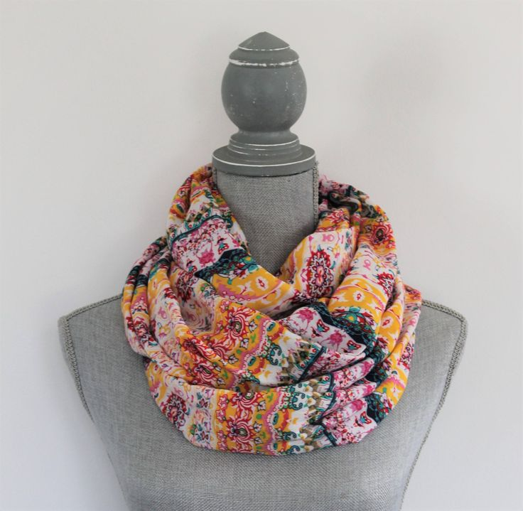 Floral Scarf by bakeappledesigns, Boho, Infinity Scarf, Yellow, Pink, Women's,Rayon, Gift Under 30
