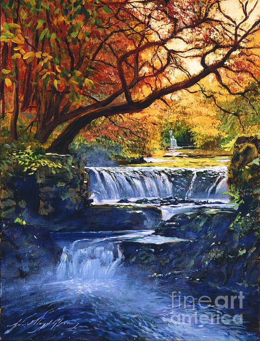 Dramatic waterfalls in autumn - a painting by David Lloyd Glover